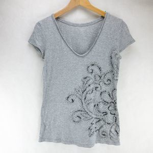 LOFT embroiled Gray T shirt  Size Small